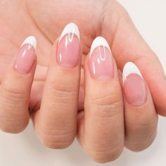 Almond Nails French, French Nails, French Tip Acrylic Nails, Acrylic Nail Tips, Almond Acrylic Nails, Short Almond Nails, Round Tip Nails, Oval Nails, Short Round Nails