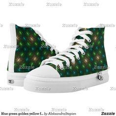 Cute Shoes, On Shoes, Blue Green, Yellow, Custom Sneakers, Converse Chuck Taylor, High Tops, High Top Sneakers, How To Wear