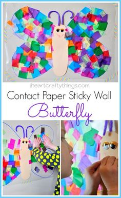 Contact Paper Sticky Wall Butterfly Art for Kids | fun spring kids craft | from iheartcraftything...