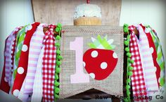 STRAWBERRY Birthday High Chair Highchair Birthday Banner County Fair Farmer's Markert Picnic Party Cake Smash First One Gingham Burlap by RawEdgeSewingCo on Etsy https://www.etsy.com/listing/294333139/strawberry-birthday-high-chair-highchair