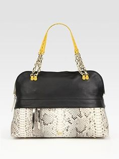 Christian Louboutin - Marianne Leather And Python Bowling Bag