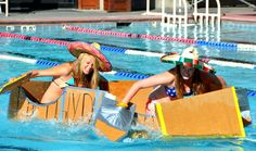 The Cardboard Clssic is an event held at the Old Town Hot Springs in Steamboat Springs, Colo. Students build cardboard crafts using one role of duct tape. They compete in heats to see who can get across the pool the fastest. Photo courtesy Shannon Lukens.