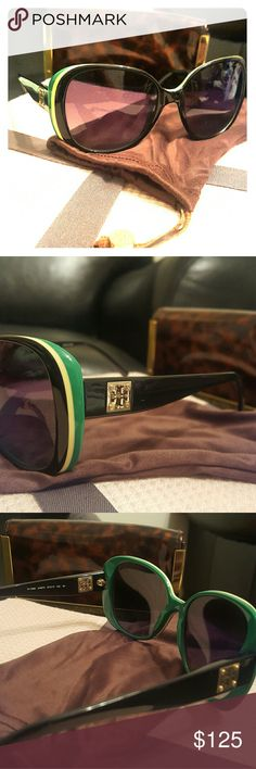 tory burch polarized sunglasses Polarized Tory Burch Sunglasses. Gold Tory Burch logo. Green and Yellow Rimmed! Beautiful Glasses in amazing condition. 1 small scratch on the left lens  1mm in size. shown in the 4th picture. Tory Burch Accessories Sunglasses