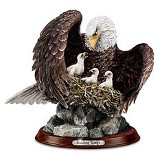 """Guiding Wings"" Bald Eagle and Eaglets Sculpture - Bradford Exchange"
