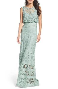 Free shipping and returns on Tadashi Shoji Blouson Gown at Nordstrom.com. Embroidered lace flows from the bateau illusion neckline through the subtly flared skirt of this elaborate gown, pleated here and there to highlight the waist and legs.