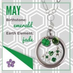 Origami Owl Locket  May Birthstone examples. Find ERIN BROWN at http://fb.com/popitandlocket to learn more