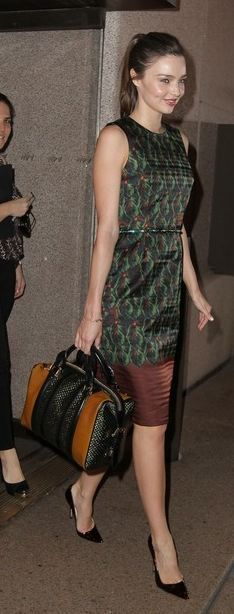 Miranda Kerr: Dress – Josh Goot Purse – Burberry Shoes – Manolo Blahnik