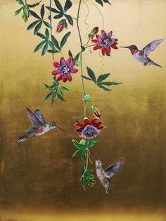 Ruth Winding: Hummingbirds (finished) Art Mur, Mural Art, Chinoiserie Wallpaper, Wallpaper Decor, Gold Leaf Art, Wall Art Designs, Gold Paint, Japanese Art, Painting Inspiration
