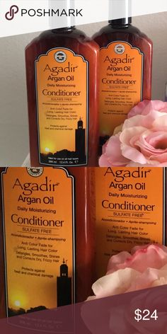 2 X Agadir Argan Oil Conditioner 12.4 fl.oz each Agadir Argan Oil Daily Moisturizing Conditioner is a sulfate and paraben free formula with anti color fade for long, lasting beautiful hair color. It helps detangles, smoothes, shines and corrects dry, frizzy hair. Protects against heat and chemical damage. This featherweight formula contains protective sunscreen that helps repair and strengthen damaged hair.   Two(2) brand new, un-used bottles. agadir Other