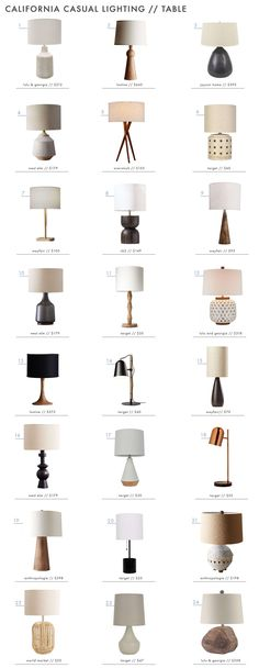 'California casual' vibe - table lamp roundup by Emily Henderson