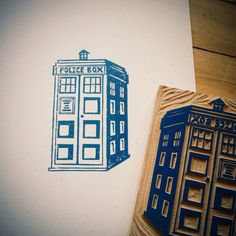 Doctor Who Tardis block print