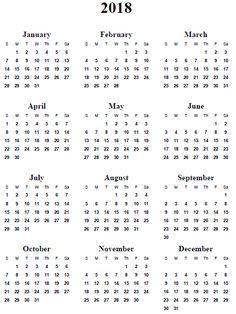 full page calendar 2018