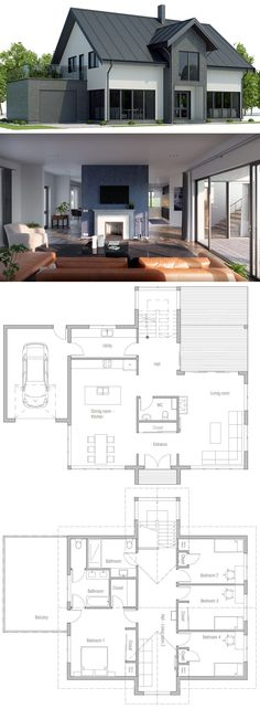 Black House With Angled Roof Balcony Barn Doors Breezeway Catwalk Forced Perspective Garage