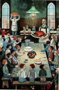 "Barbara Cooney Newsboys' Thanksgiving Dinner for ""Eleanor"", 1996 Barbara Cooney, Bowdoin College, Garth Williams, Early American, Children's Books, Tudor, Art Museum, Colonial, Illustrators"
