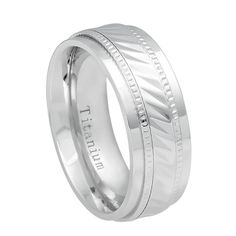 Description:    SKU# Ti551EL 8mm White IP Titanium Wedding Ring Notched Center Milgrain    Style: Fashion, Modern  Type: Titanium Wedding Ring  Material: Titanium  Color: Silver White  Ring Width: 8mm  Sizes (US): 5, 5.5, 6, 6.5, 7, 7.5, 8, 8.5, 9, 9.5, 10, 10.5, 11, 11.5, 12    Package Includes:  1 x Ring (Without Gift Boxes)    Notice:  1.Due to the difference between different monitors, the picture may not reflect the actual color of the item. Please consider this before placing an order…