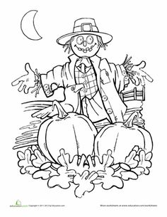 autumn scarecrow coloring page