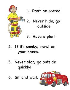 Preschool community helper unit Fireman rules for Emergency