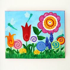 Outstanding Chalk Art Ideas Art For Kids Room Flower Garden Canvas Painting Floral in Outstanding Chalk Art Ideas Giraffe Painting, Painting Prints, Canvas Prints, Art Prints, Rock Painting, Nursery Canvas Art, Nursery Paintings, Canvas Paintings, Garden Care