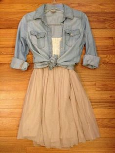 Chambray shirt with tulle skirt