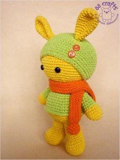 88 Crafts: Зайка Марунито. Жёлтый в зелёном и оранжевом. (+описание)