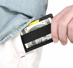82265ad1b6 Front Pocket RFID Minimalist Carbon Credit Card Holder Wallet With Cash  Money Clip - With 3