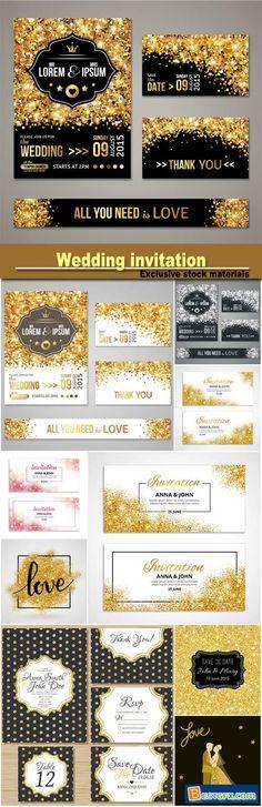 Wedding invitation with gold decoration