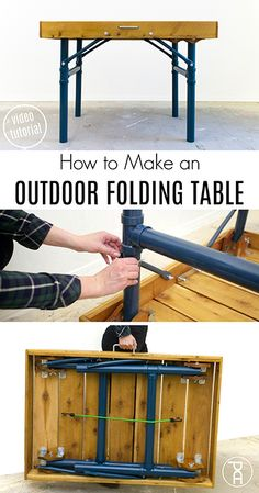 How to build an outdoor folding table from inexpensive cedar pickets, and lightw. Porch Table, Diy Porch, Diy Table, Picnic Table, Woodworking Logo, Fine Woodworking, Woodworking Projects, Popular Woodworking, Woodworking Furniture