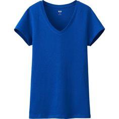UNIQLO Women Supima Cotton Modal V-Neck Short Sleeve T ($13) ❤ liked on Polyvore