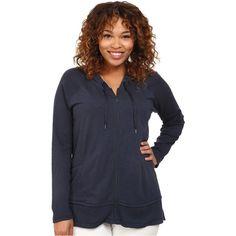 DKNY Jeans Plus Size Zip Front Hoodie (Mood Indigo) Women s Sweatshirt ( 60) fc5d89583050