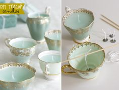 "DIY: ""Teacup Candles "" by Emmaline Bride (website). Site: http://emmalinebride.com/decor/diy-teacup-candles/"