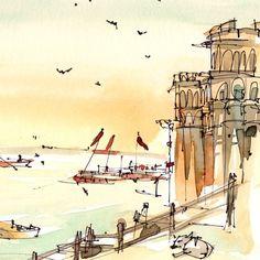 Watercolor travel sketch