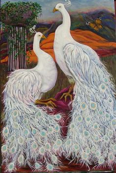 2 white peacocks by Mary McGregor - paintings to love