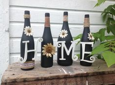 "Set of 4 painted wine bottles, ""home"" ......customizing available please allow 2-3 weeks for all customizing"