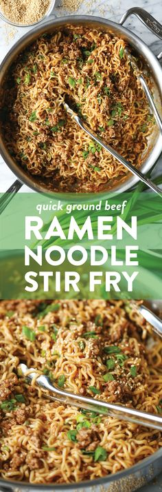 Hypoallergenic Pet Dog Food Items Diet Program Quick Ramen Noodle Stir Fry - Fast, Easy And Budget-Friendly Using Ramen Noodles And Ground Beef For An Amazing, Saucy Stir Fry The Whole Family Will Love Noodle Recipes, Stir Fry Recipes, Cooking Recipes, Cooking Chef, Cooking Games, Oven Recipes, Chicken Recipes, Carne Picada, Ramen Noodles