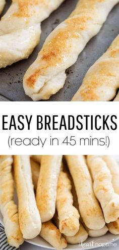 EASY Breadstick Recipe (done in 45 minutes!) – I Heart Naptime These EASY homemade breadsticks rise quickly and are done in less than an hour! They're soft, flavorful and have a delicious parmesan butter topping. Perfect for beginners! Beginners Bread Recipe, Quick Bread Recipes, Recipes For Beginners, Chef Recipes, Easy Dinner Recipes, Easy Meals, Beginner Baking Recipes, Baking For Beginners, Kitchen Recipes