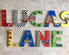 Disney Cars/Race Cars Custom Name Letters, Auto Racing Disney Cars Room Decor, Race Car Wall Art, Decorative Wall Letters, Personalized – Sport is lifre Race Car Themes, Race Cars, Disney Cars Room, Race Car Bed, Disney Wall Decor, Festa Pj Masks, Personalized Wall Decor, Car Wall Art, Letter Wall Decor
