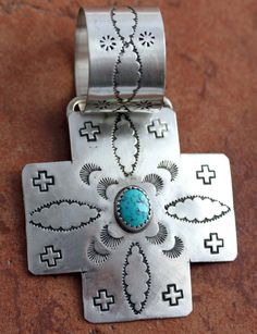 NativeIndianMade.com - Navajo Sterling Silver Turquoise Cross Pendant, I have this but without the turquoise