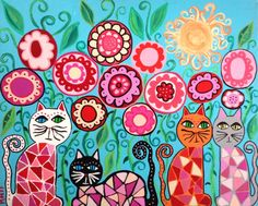 Kerri Ambrosino Art NEEDLEPOINT Mexican Folk Art English Rose Garden Cats Flowers Sunny Day on Etsy, $22.99