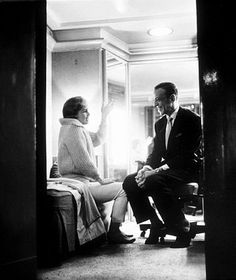 "Debbie Reynolds and Fred Astaire in his dressing room during a break from filming ""The Pleasure of His Company,"" Paramount 1960."