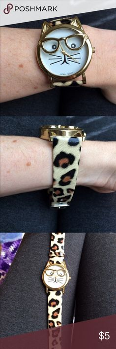 Cat Watch! Cute and playful cat watch with leopard print band! Accessories Watches