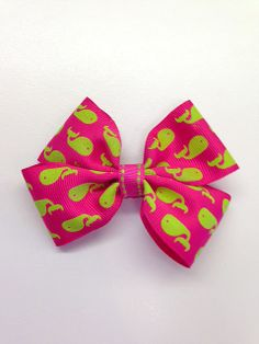 Flat Boutique Hair Bow  Hot Pink with Lime by FrillsAndFlairGifts, $4.75
