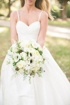 pretty white bouquet with anemones + little pinecones | Courtney Dox #wedding