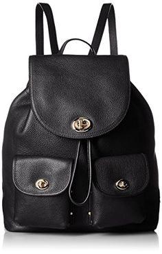 90d5394060 COACH Women s Turnlock Tie Rucksack LI Black Backpack