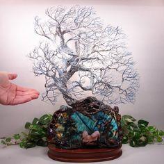 Wire Tree Of Life sculpture, Blue Labradorite Spirit of Light sculpture, Wedding, Anniversary, Valentines Day unique home decor gift idea