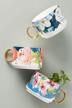 Anthropologie - Anais Mugs Ceramic Pottery, Ceramic Art, Crackpot Café, Stoneware Mugs, Cute Mugs, Pottery Painting, Painting On Mugs, Mug Designs, Dinnerware