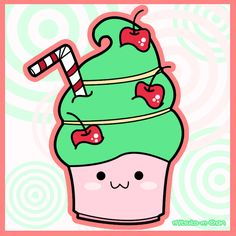 Kawaii Green Cupcake by Mitsuko-m-Chan.deviantart.com on @deviantART