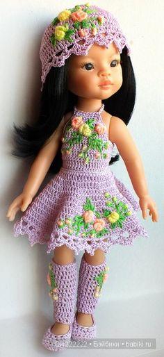 """Комплект """" Очарование """" с вышивкой рококо для паолок / Одежда для кукол / Шопик… Crochet Doll Clothes, Knitted Dolls, Doll Clothes Patterns, Crochet Dolls, Barbie Knitting Patterns, Crochet Doll Pattern, Cute Crochet, Crochet Baby, Barbie Kids"""