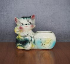American Bisque Kitten Fishbowl Planter / by FireflyVintageHome