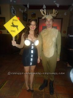 Deer in the Headlights Couple Costume.  One of MANY costumes on this homemade costume website.