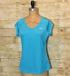 NIKE L Running Miler V Neck Dri FIT Mesh Blue Short Sleeve Exercise Shirt Top  | eBay